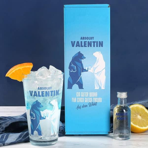 Geschenk-Set Absolut Vodka Flasche mit umlaufend bedrucktem Vodkaglas und persönlicher  Geschenkverpackung