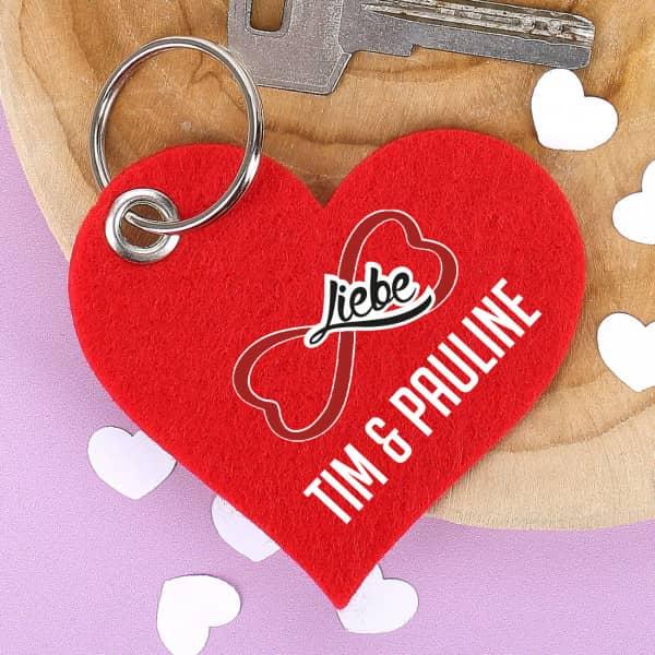 Schlüsselanhänger Unendliche Liebe mit Ihren Namen