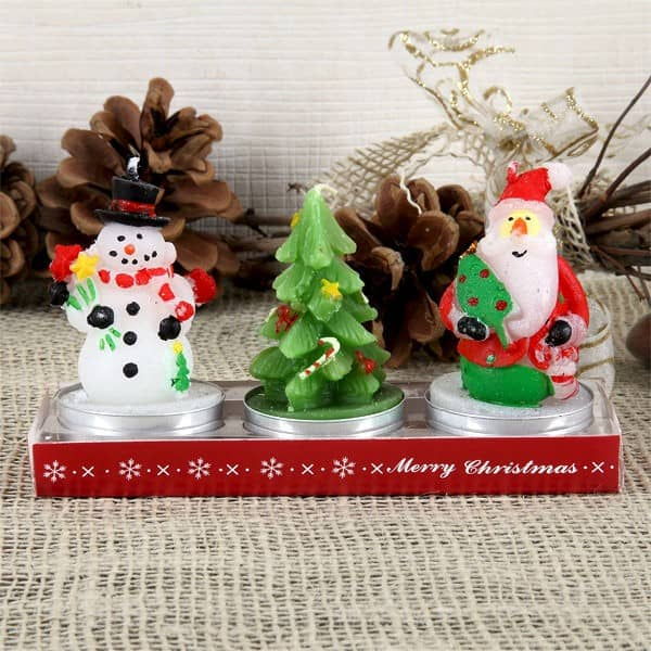Teelichtset - Weihnachtsmann, Tannenbaum, Schneemann