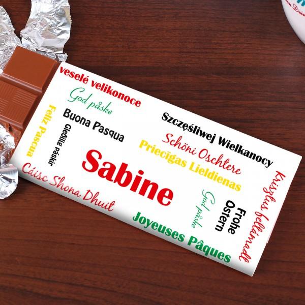 100g Schokolade zu Ostern mit verschiedenen Sprachen