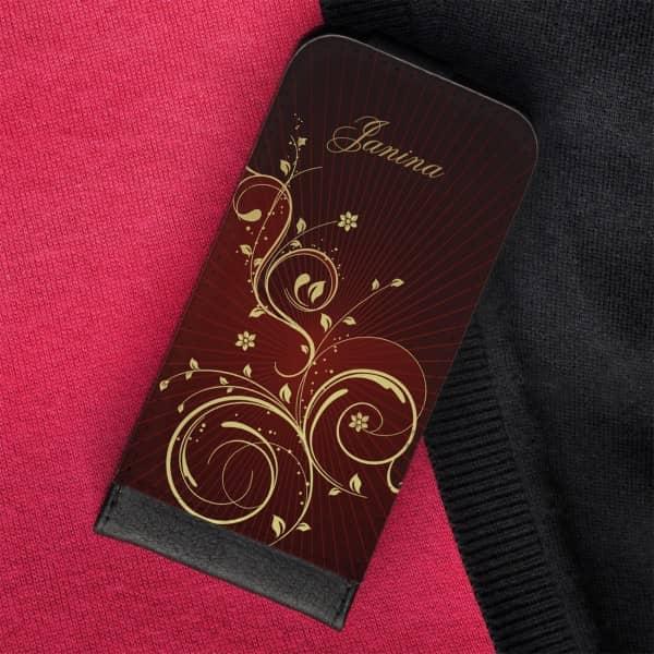 Flipcase mit goldenen Ornamenten und Wunschname