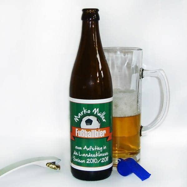 Bieraufkleber Fussballbier mit Wunschname und Text