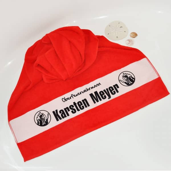 Individuellbadzubehör - Dusch und Badetuch für Feuerwehrmänner - Onlineshop Geschenke online.de