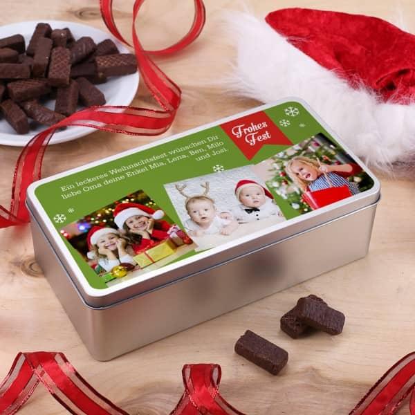 Geschenkdose Weihnachten Fotos Wunschtext