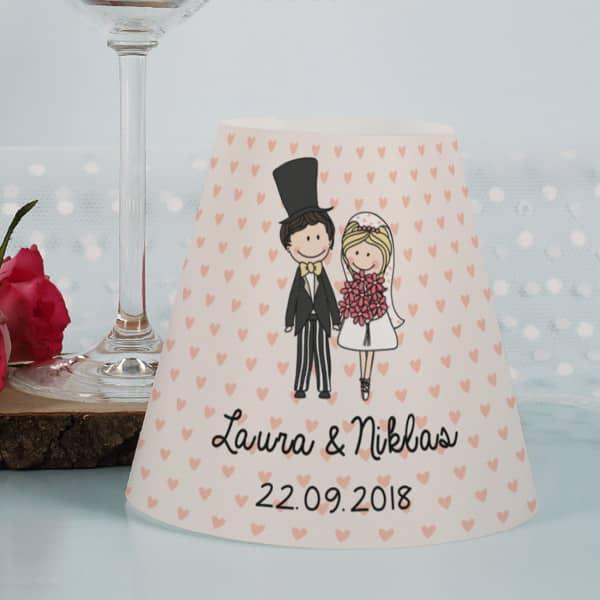 Lampenschirm für Weingläser bedruckt mit süßem Hochzeitsmotiv