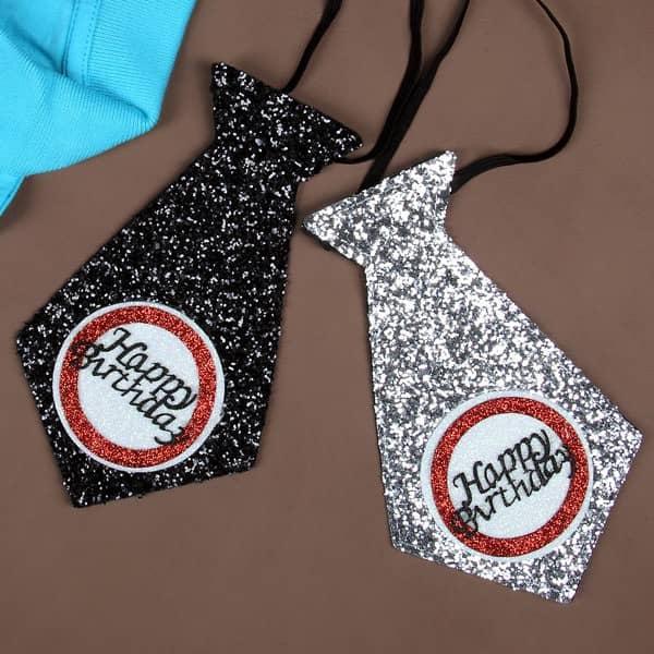 Happy Birthday Mini-Krawatte in Schwarz oder Silber