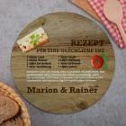 Rundes Glasbrettchen mit Rezept für eine glückliche Ehe und Ihren Wunschnamen