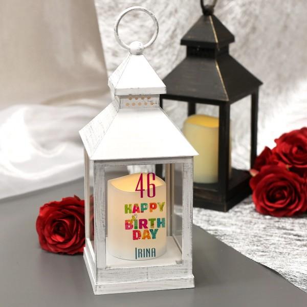 LED-Laterne mit Geburtstagsmotiv