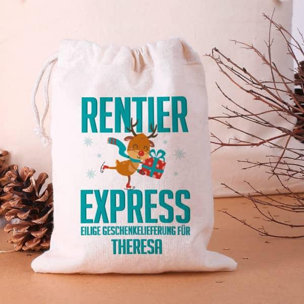 Kleiner Geschenksack Rentier-Express mit Ihrem Namen