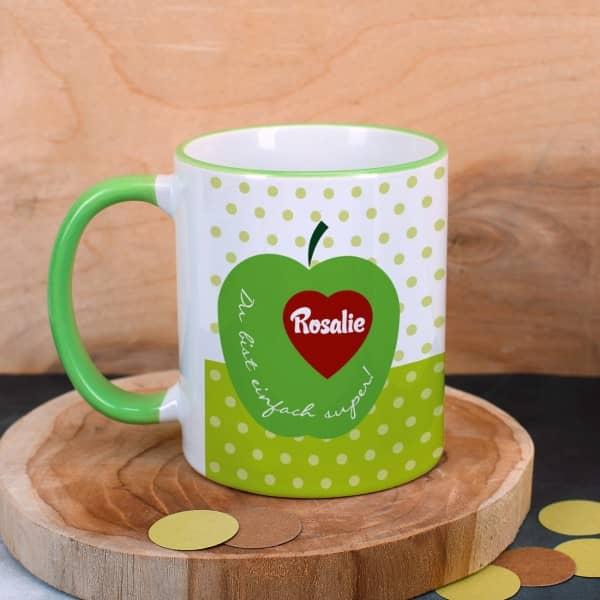 persönliche Tasse mit Herz und Name