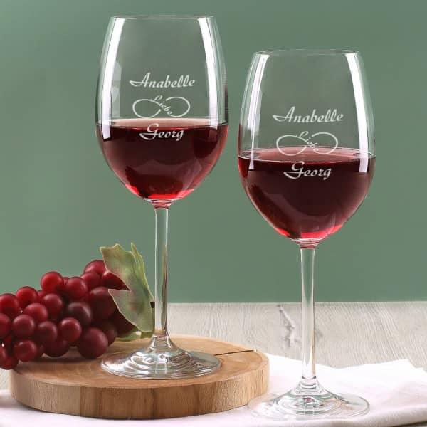 Weingläser im Set unendliche Liebe