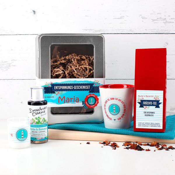 Ruhe Balance Geschenkset zur Entspannung mit Pflegebad, Tee, Tasse und Kerze