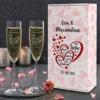 Gravierte Sektgläser - Geschenkset zur Hochzeit mit Namen, Datum und Herzen