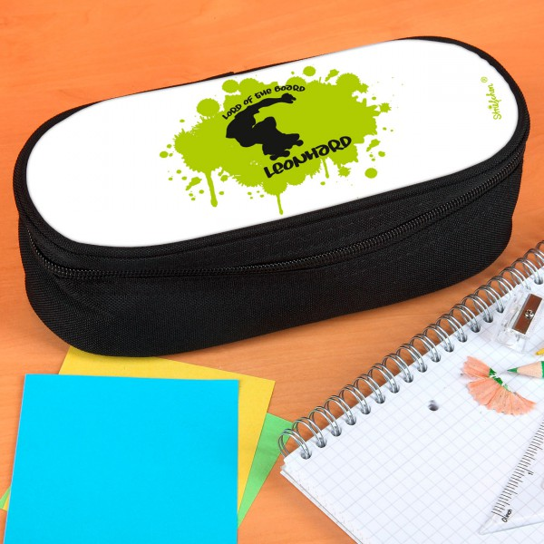 Stiftebox mit grünem Skateboardermotiv