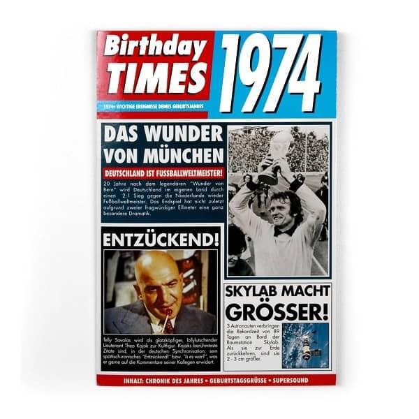 Birthday Times Karte 1974