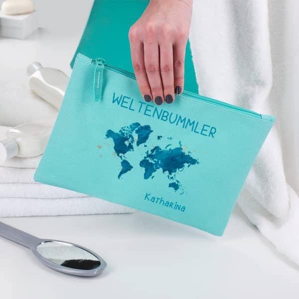 Beautycase für Weltenbummler mit Name