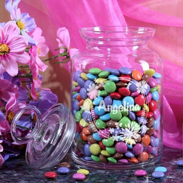 Gravierte Glasdose mit Frühlingsblüten und Ihrem Namen