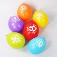 8 Luftballons zum 50. Geburtstag mit Punkten - bunt gemischt