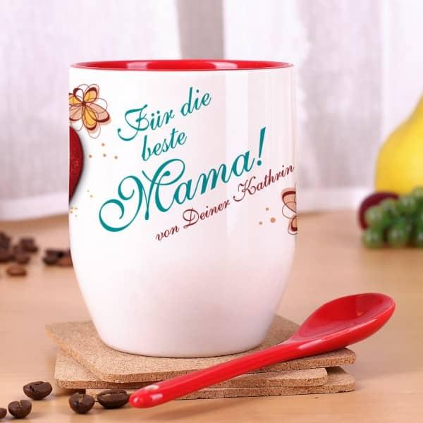 Tasse mit Löffel für die beste Mama Herz mit Blüten