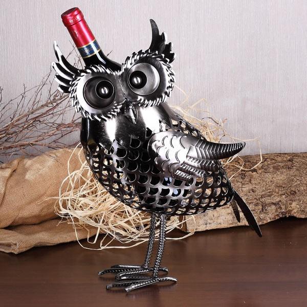 Weinflaschenhalter Eule aus Metall