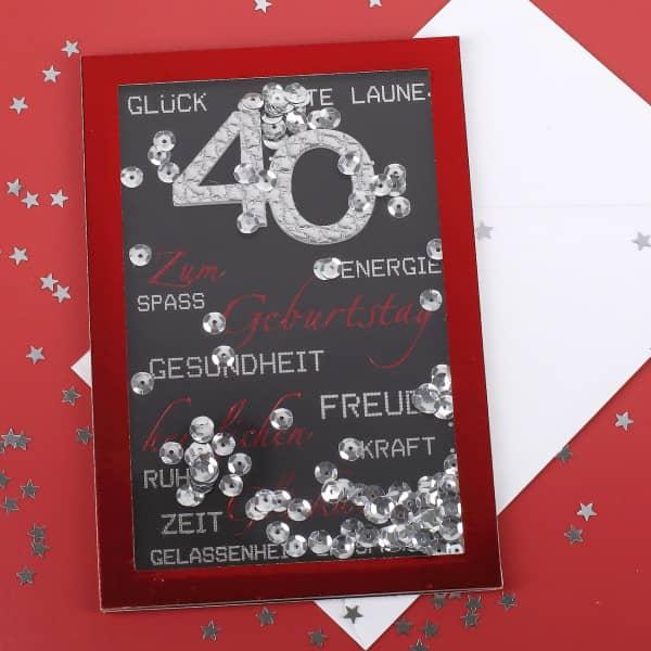 Konetti-Schüttel-Karte in rot zum 40. Geburtstag
