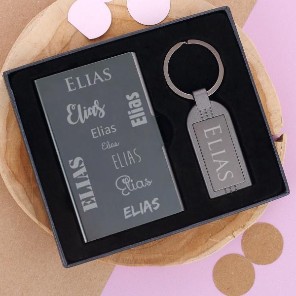 Set Kartenetui und Schlüsselanhänger mit Namensgravur
