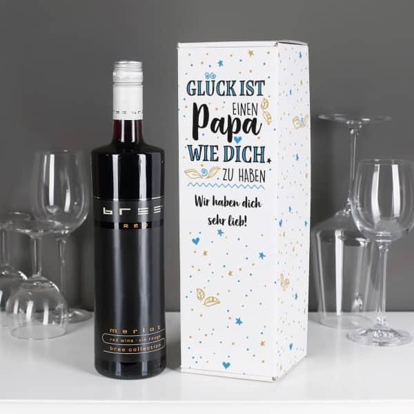 Set BREE Weinflasche mit bedruckter Verpackung für Väter mit Wunschtext