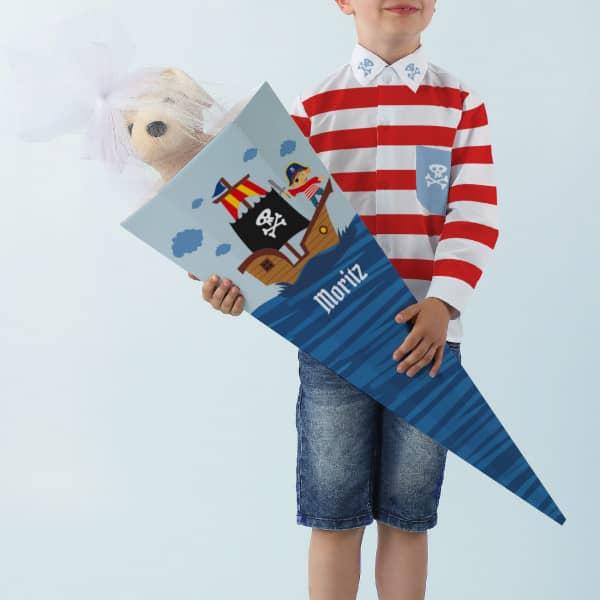 Piraten - Schultüte mit Name, 80 cm