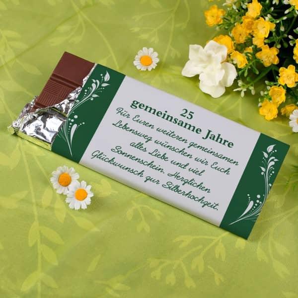 100g Schokolade zur Silbernen Hochzeit mit Ihren Wunschtext