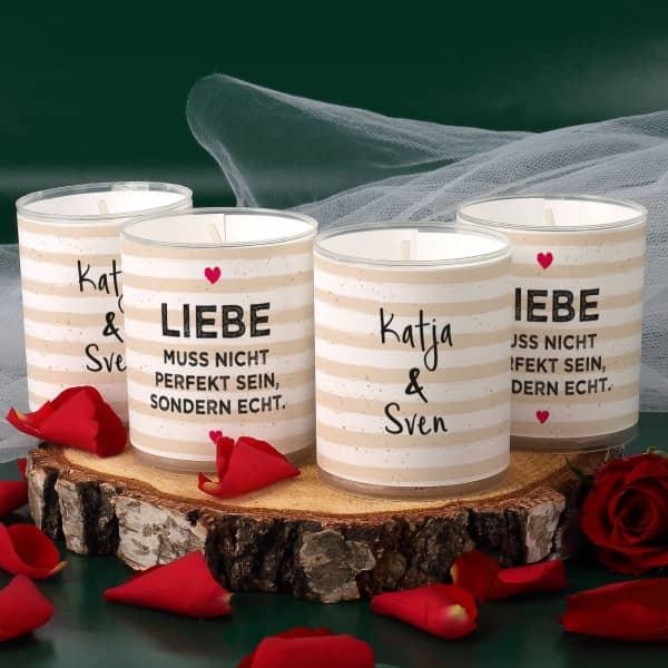 4 Set Kerzen Liebe muss echt sein mit Namensaufdruck