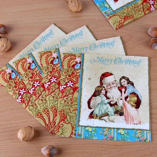 Papierservietten Merry Christmas mit nostalgischem Design