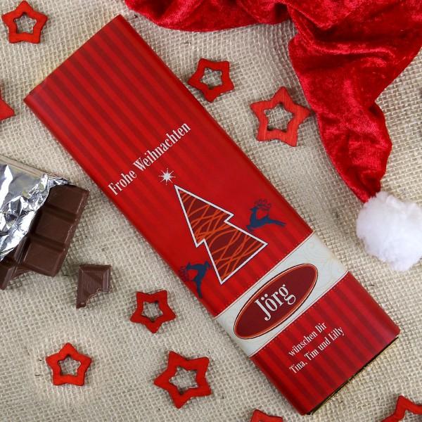 Schokolade mit Weihnachtsbaum und Personalisierung