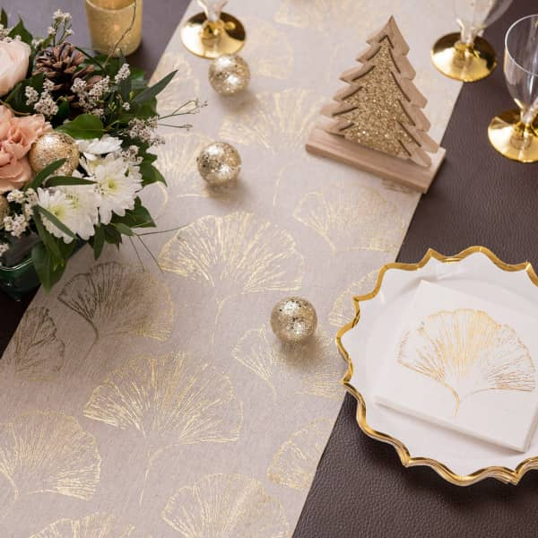 Tischläufer in Beige mit gold - Metallic Motiv