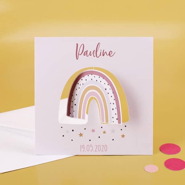 Drehkarte mit Regenbogen zur Geburt für Mädchen