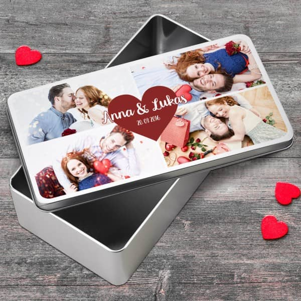 Geschenkdose für Verliebte mit Fotos, Namen und Datum