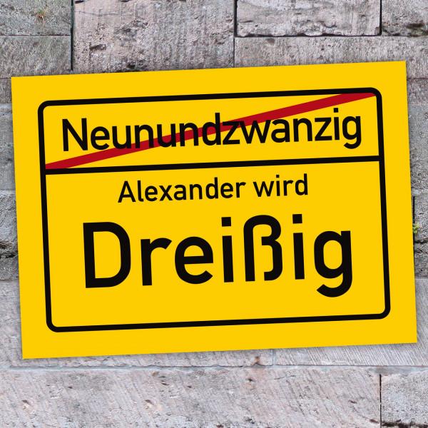PVC-Schild zum Gegurtstag mit Namen