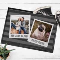 Foto Fußmatte mit Ihren 2 Lieblingsfotos im Polaroidrahmen