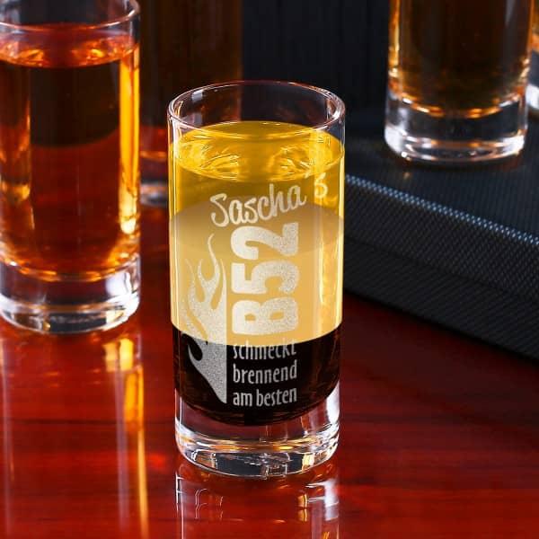 Graviertes Schnapsglas mit B52-Motiv und Wunschname