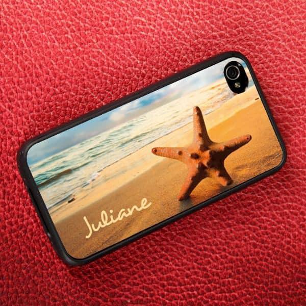 Rückseite Handycover mit Strandmotiv und Wunschname