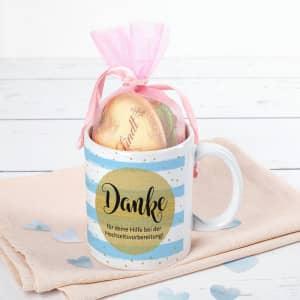 Geschenkset mit Tasse und Pralinen
