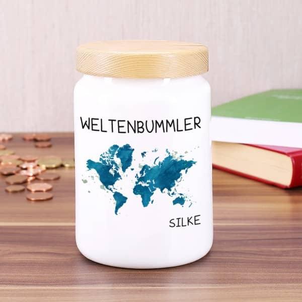 Keramikdose mit Weltenbummler Motiv und Name