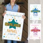Erstklassig - Banner zur Einschulung mit Name, Datum und Wunschtext, 70x50cm