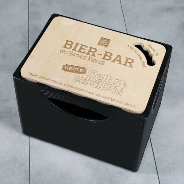 Bier-Bar - Bierkastendeckel aus Holz mit individueller Gravur