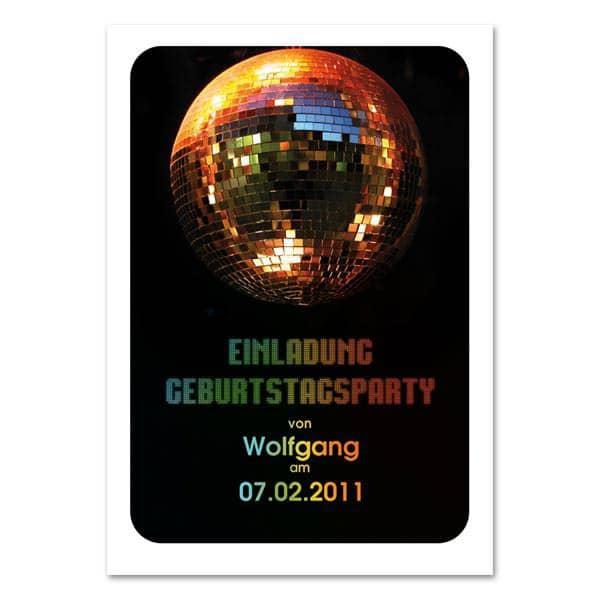 Einladungskarte Discokugel bedruckt mit Name und Datum