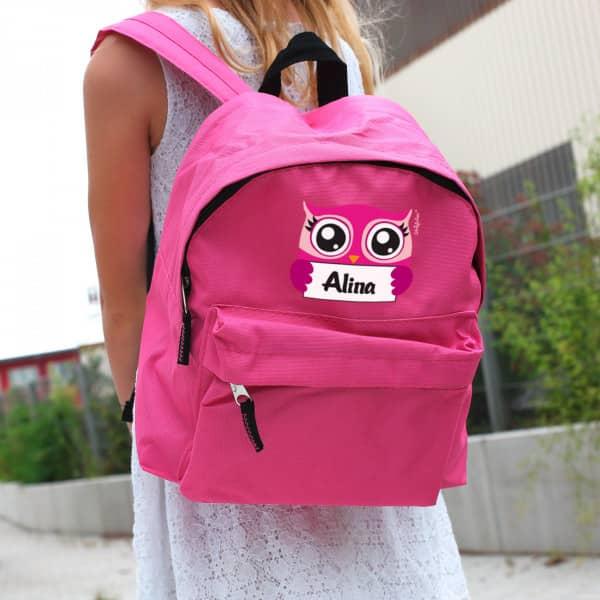 Kinderrucksack in pink mit Eulenmotiv