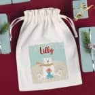 Weihnachts - Geschenksack mit Eisbär und Name