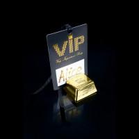 10 Tischkärtchen VIP - Pass in schwarz / gold