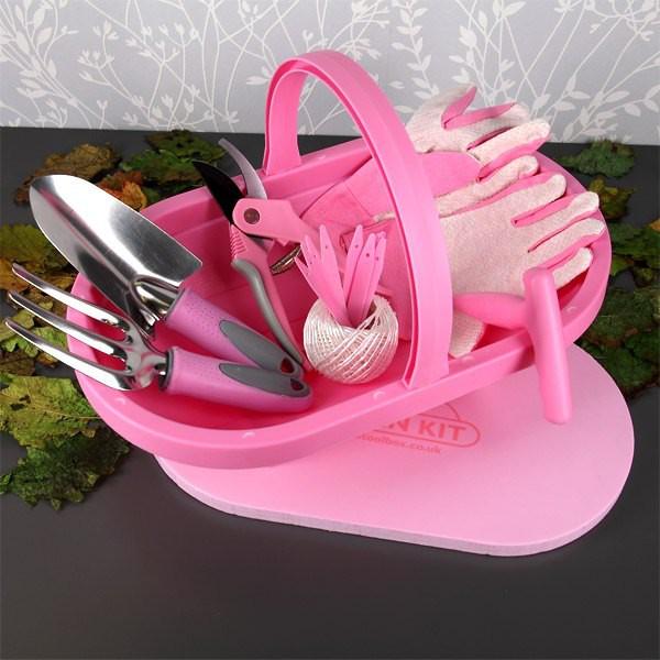 Gartenkorb mit Ausrüstung in Pink