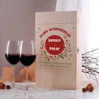 Weihnachtliches Weinset mit Holzbox und zwei gravierten Weingläsern