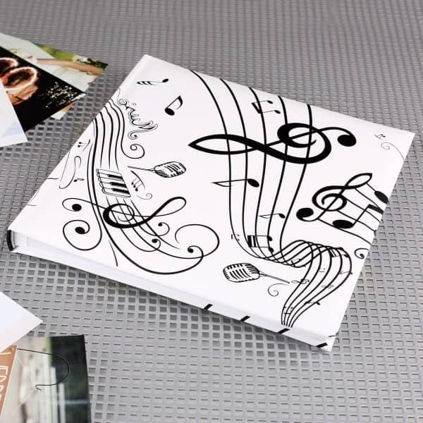 Gästebuch zur Hochzeit Musik in weiß & schwarz